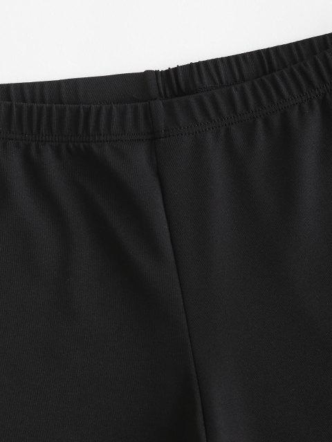 shop Distressed High Waisted Biker Shorts - BLACK S Mobile