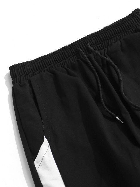 Pantalones de Carga con Estampado de Letras y de Bloqueo de Colores - Blanco M Mobile