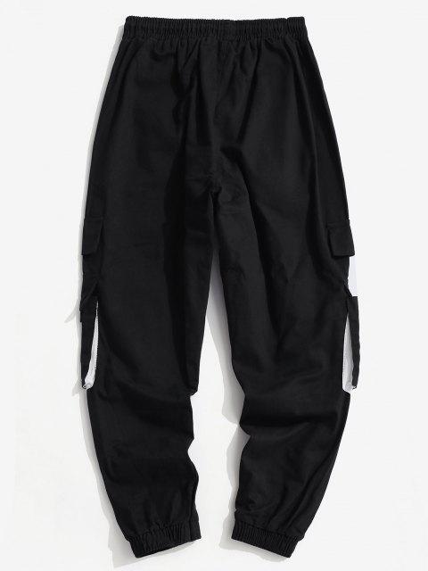 Pantalones de Carga con Estampado de Letras y de Bloqueo de Colores - Púrpura L Mobile