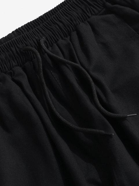 chic Letter Print Colorblock Panel Cargo Pants - PURPLE M Mobile