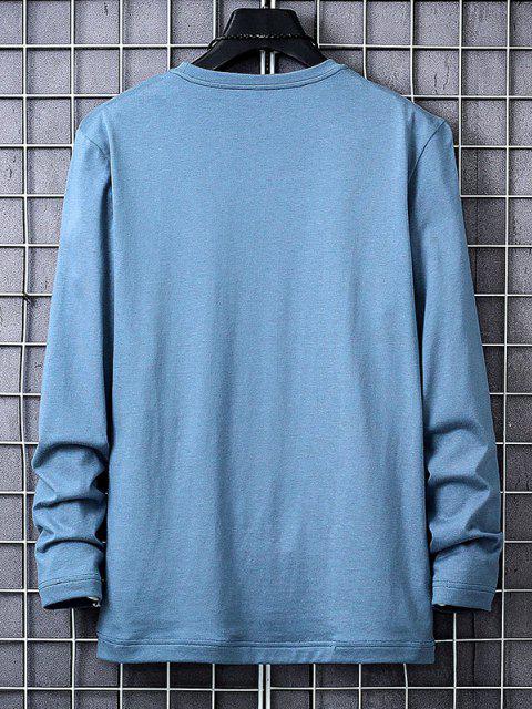 Camiseta con Estampado de Letras con Mangas Largas - Azul XS Mobile