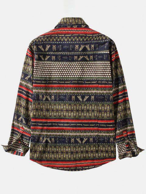 fashion Ethnic Seamless Striped Pattern Button Up Corduroy Shirt - BROWN 3XL Mobile