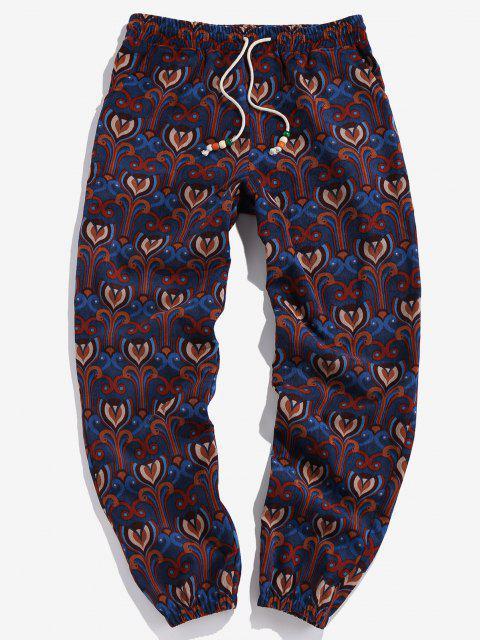trendy ZAFUL Flower Allover Pattern Beam Feet Pants - MULTI 2XL Mobile