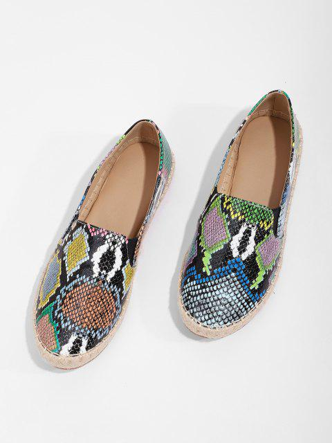 Snake Print Espadrilles Flat Loafer Shoes - متعددة-A الاتحاد الأوروبي 38 Mobile