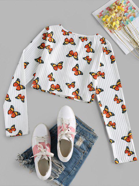 ZAFUL T-shirt da Colheita da Borboleta Cortado - Branco S Mobile
