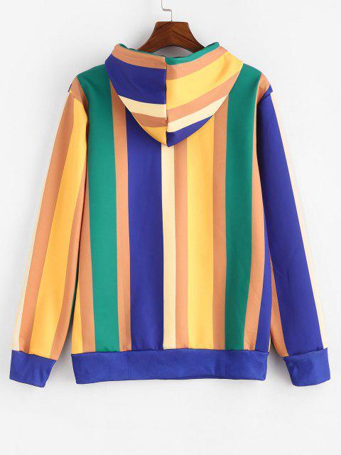 new Kangaroo Pocket Colorblock Stripes Hoodie - ORANGE GOLD 2XL Mobile