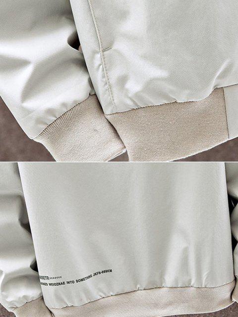 Jaqueta com Capuz de Bolso da Carta Contraste de Remendo - Bege S Mobile