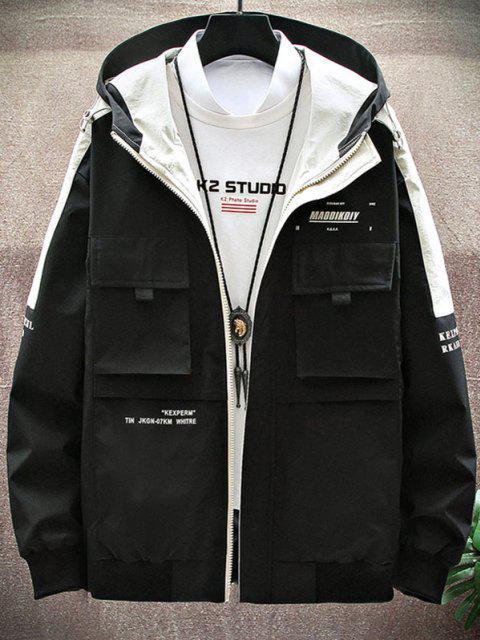 new Contrast Patch Letter Print Flap Pocket Hooded Jacket - BLACK M Mobile