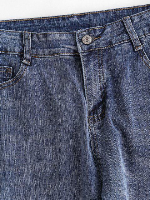 Jeans Flacos Deshilachados de Contraste - Azul Océano  S Mobile