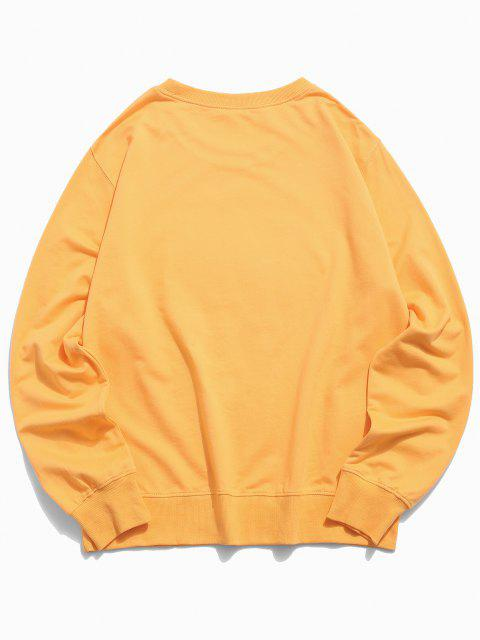 trendy Funny Face Graphic Lounge Crew Neck Sweatshirt - YELLOW 2XL Mobile
