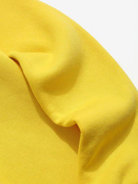 outfit Contrast Rib-knit Trim Fleece Sweatshirt - YELLOW XL Mobile