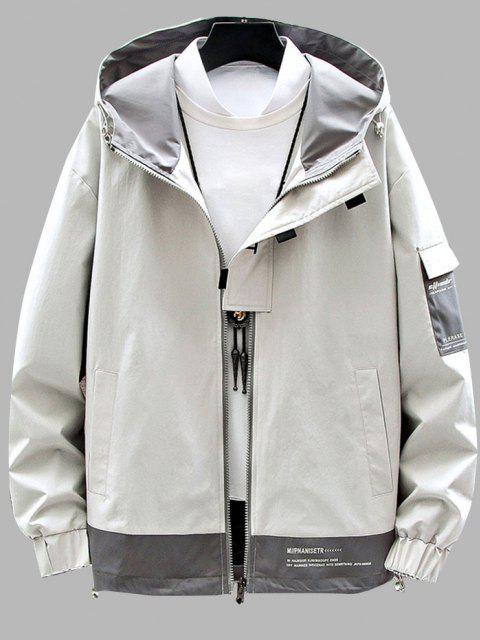 women's Colorblock Panel Letter Print Hooded Jacket - BEIGE S Mobile