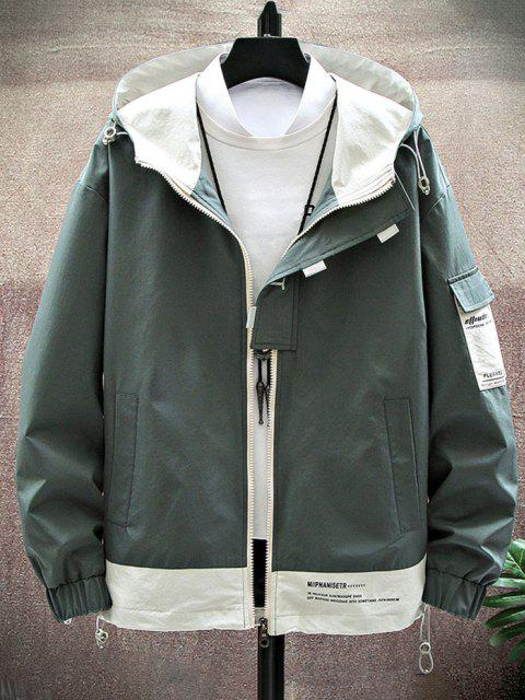 outfits Colorblock Panel Letter Print Hooded Jacket - DEEP GREEN M Mobile