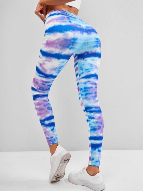 outfit Tie Dye Stripes Skinny Leggings - BLUE ONE SIZE Mobile