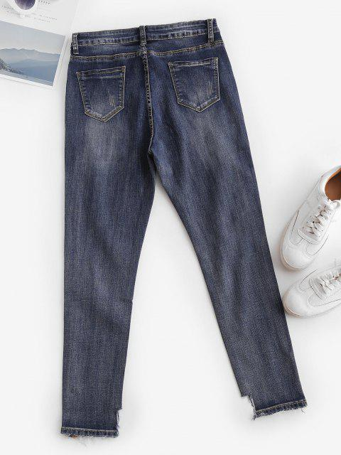 unique Ripped Mid Rise Ninth Skinny Jeans - MIDNIGHT BLUE L Mobile