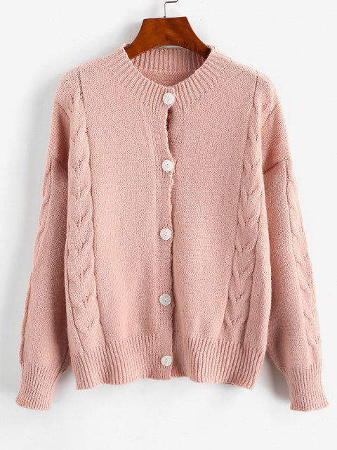 sale Solid Button Up Cable Knit Cardigan - LIGHT PINK ONE SIZE Mobile
