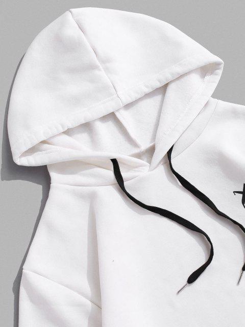 best Cartoon Face Letter Print Applique Fleece Hoodie - WHITE L Mobile