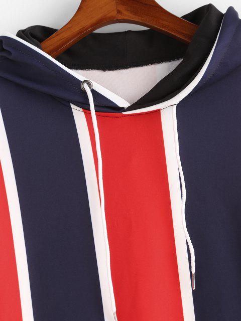 hot Colorblock Stripes Kangaroo Pocket Hoodie - RUBY RED 2XL Mobile