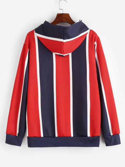 outfit Colorblock Stripes Kangaroo Pocket Hoodie - RUBY RED 3XL Mobile