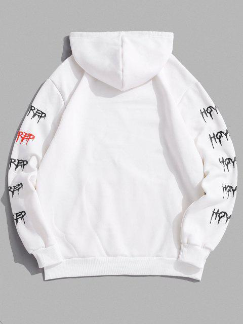 fashion Cartoon Face Letter Print Applique Fleece Hoodie - WHITE S Mobile
