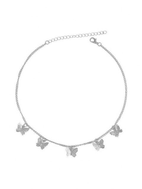 fancy Chain Butterfly Collarbone Necklace - SILVER  Mobile
