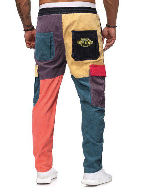 Pantalones de Pana con Bordado de Letras y Bolsillos - Multicolor-A L Mobile