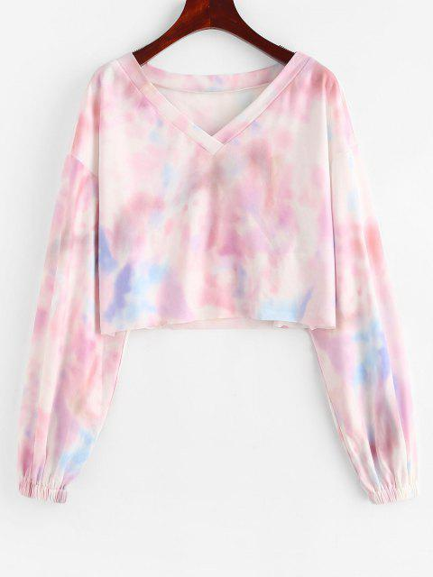 ZAFUL Tie Dye Drop Shoulder Raw Hem Crop Sweatshirt - متعددة-A M Mobile