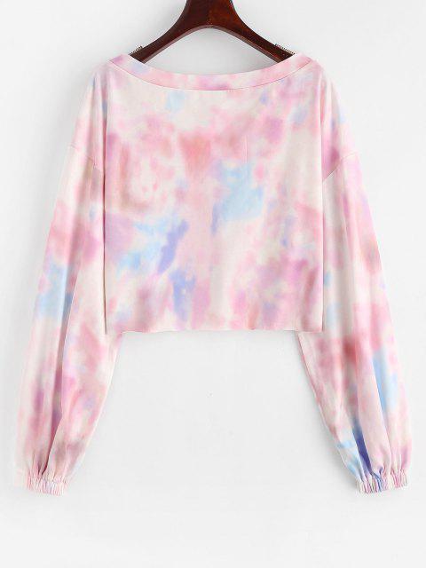 latest ZAFUL Tie Dye Drop Shoulder Raw Hem Crop Sweatshirt - MULTI-A L Mobile