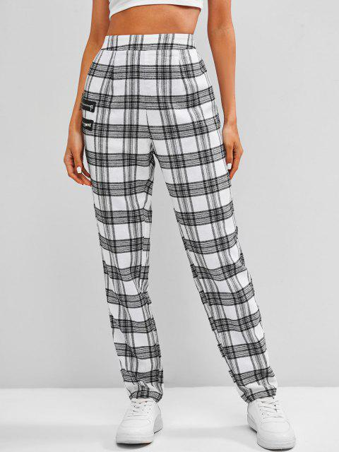 outfits ZAFUL High Rise Plaid Zippered Pants - WHITE XL Mobile