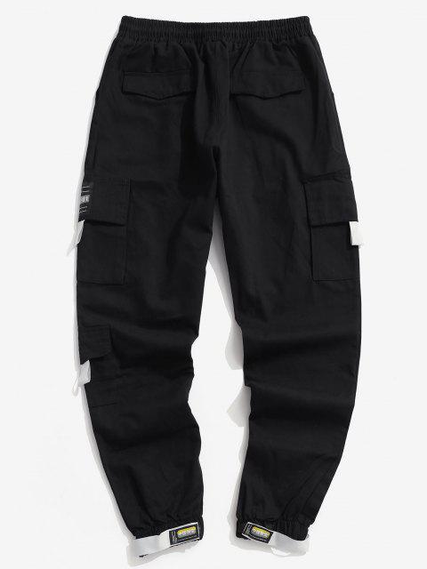 Pantalones de Carga de Cintura Elástica con Bolsillo Elástico - Negro XS Mobile