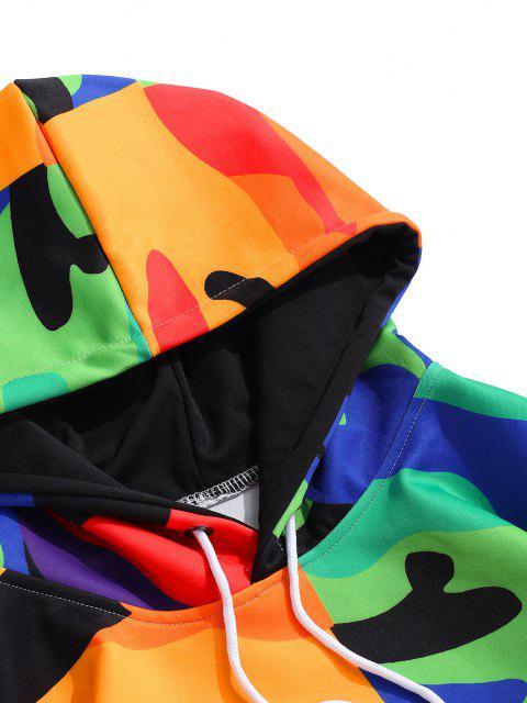 Camouflagedruck Känguru Tasche Hoodie - Kobaltblau 2XL Mobile
