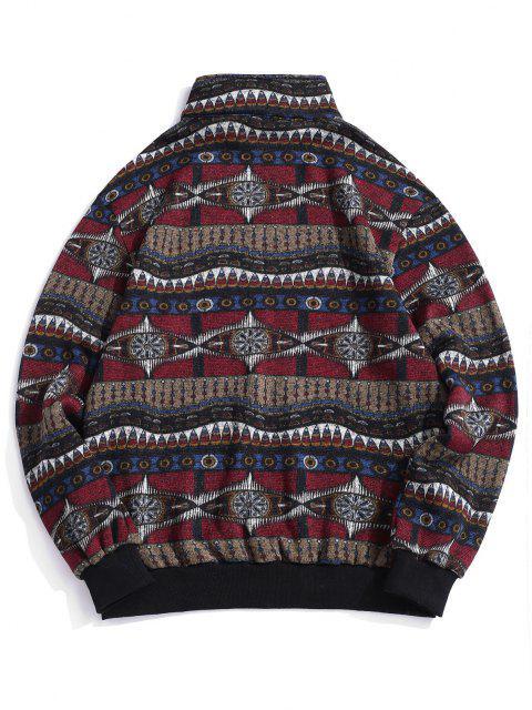 buy Tribal Pattern Fleece Knit Sweatshirt - MULTI 2XL Mobile