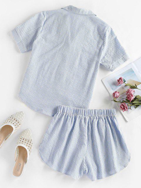 trendy ZAFUL Seersucker Striped Pocket Pajama Shorts Set - LIGHT BLUE L Mobile
