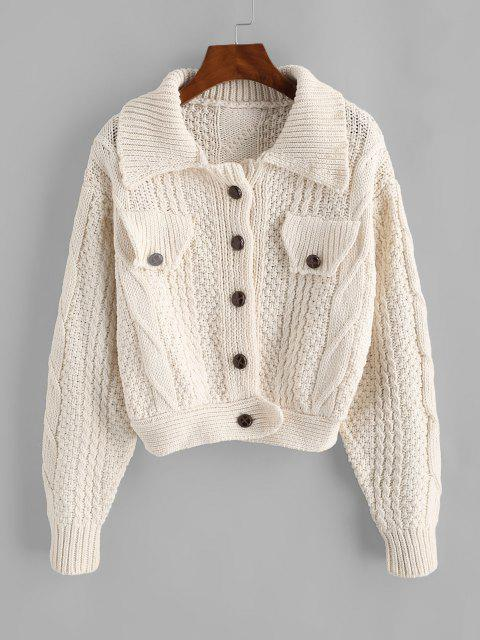 best Flap Detail Button Up Cable Knit Cardigan - WHITE ONE SIZE Mobile