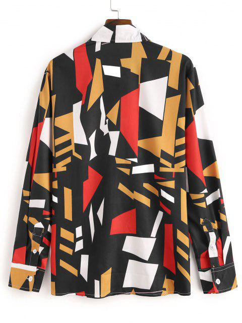 Geometric Pattern Collared Long Sleeve Shirt - أسود XL Mobile