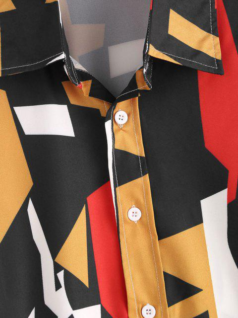 trendy Geometric Pattern Collared Long Sleeve Shirt - BLACK XL Mobile