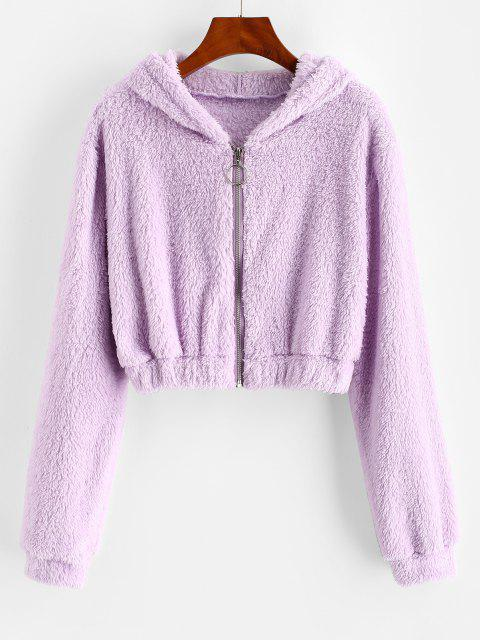 unique Hooded Full Zip Fluffy Coat - LIGHT PURPLE L Mobile