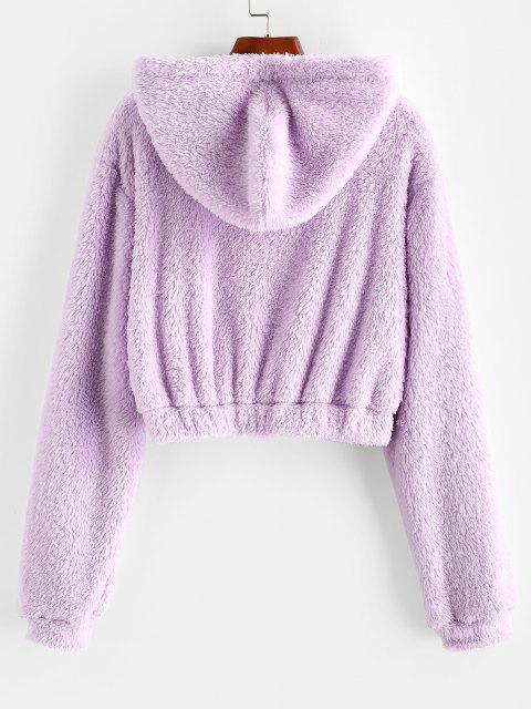 Manteau à Capuche Fourré Zippé - Violet clair XL Mobile
