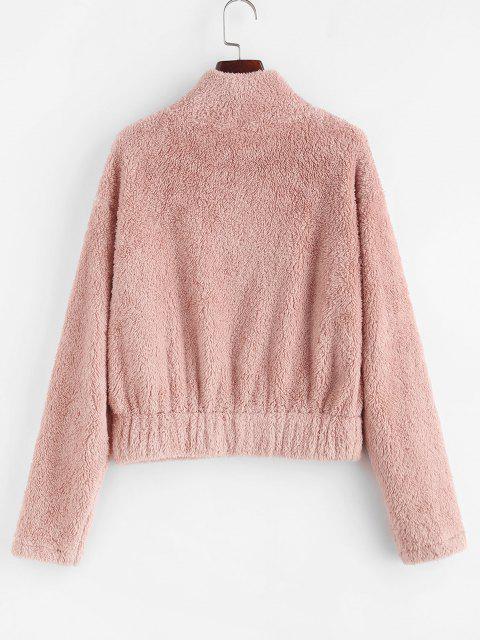 ZAFUL Sweat-shirt Demi-zip en Fausse Fourrure à Goutte Epaule - Rose clair XL Mobile