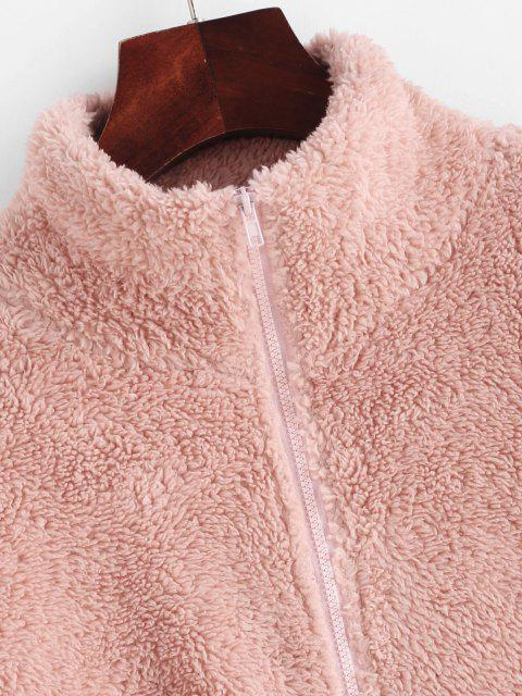 chic ZAFUL Half Zip Faux Fur Drop Shoulder Sweatshirt - LIGHT PINK M Mobile