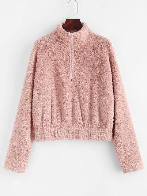 shop ZAFUL Half Zip Faux Fur Drop Shoulder Sweatshirt - LIGHT PINK S Mobile