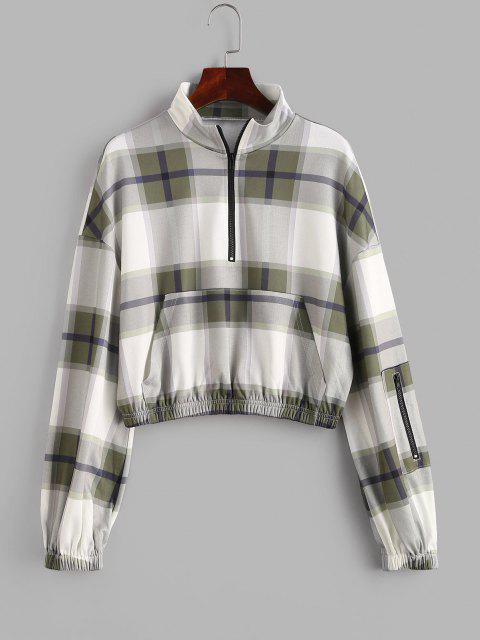 ZAFUL Plaid Drop Shoulder Half Zip Pocket Sweatshirt - السرخس الأخضر M Mobile