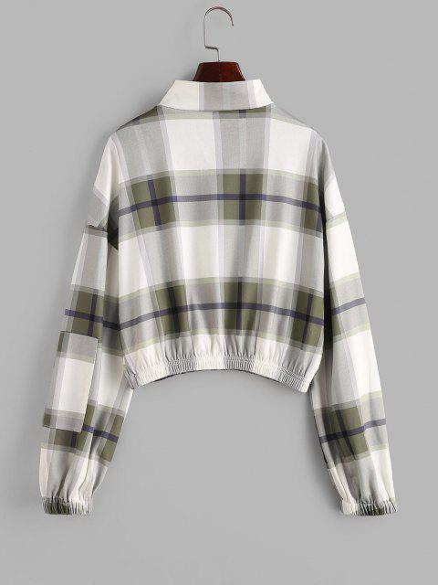 outfit ZAFUL Plaid Drop Shoulder Half Zip Pocket Sweatshirt - FERN GREEN M Mobile