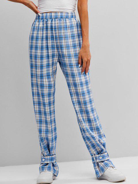 chic ZAFUL High Waist Plaid Belt Cuff Pants - MULTI-A XL Mobile