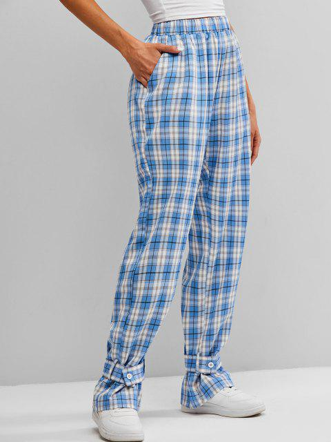 buy ZAFUL High Waist Plaid Belt Cuff Pants - MULTI-A S Mobile