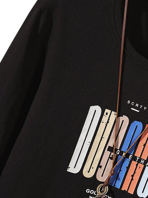 ladies Letter Pattern Long Sleeve Basic T Shirt - BLACK S Mobile