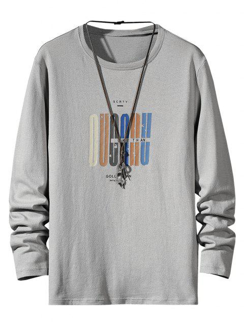 Letter Pattern Long Sleeve Basic T Shirt - اللون الرمادي XS Mobile