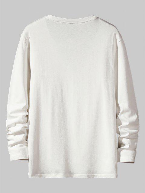 Letter Pattern Long Sleeve Basic T Shirt - أبيض S Mobile