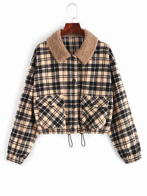 sale ZAFUL Plaid Pocket Teddy Collar Jacket - MULTI-A S Mobile