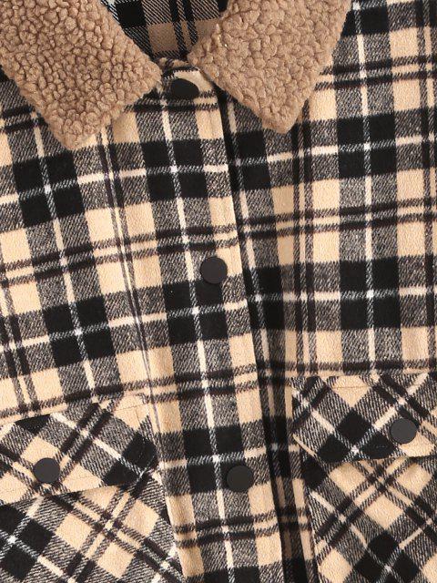 ZAFUL Karierte Taschen Teddy Kragen Jacke - Multi-A S Mobile